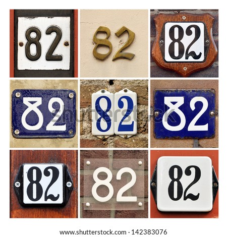 Collage of House Numbers Eighty-two - stock photo