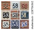 Collage of House Numbers Fifty-eight - stock photo