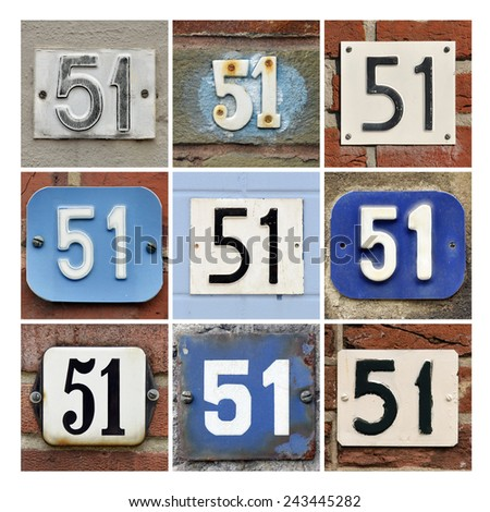 Collage of House Numbers Fifty-one - stock photo