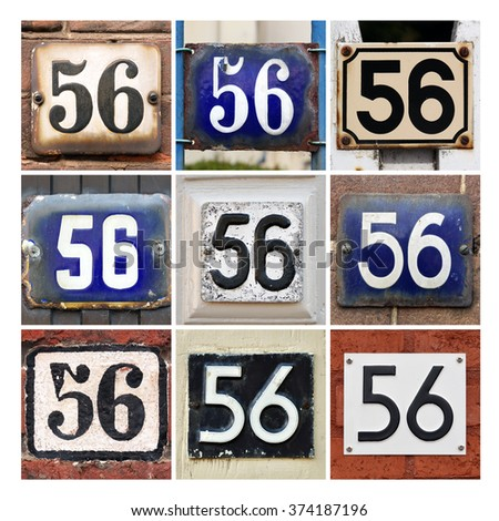 Collage of House Numbers Fifty-six - stock photo