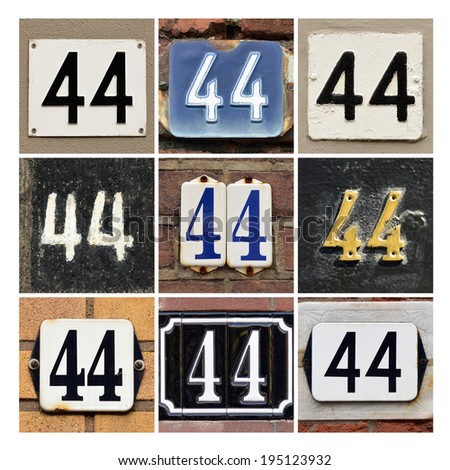 Collage of House Numbers Forty-four - stock photo