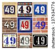 Collage of House Numbers Forty-nine - stock photo