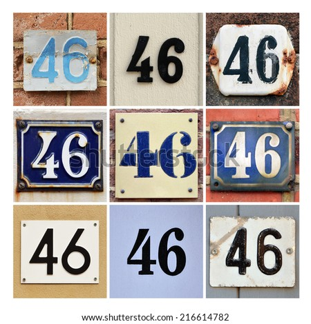 Collage of House Numbers Forty-six - stock photo