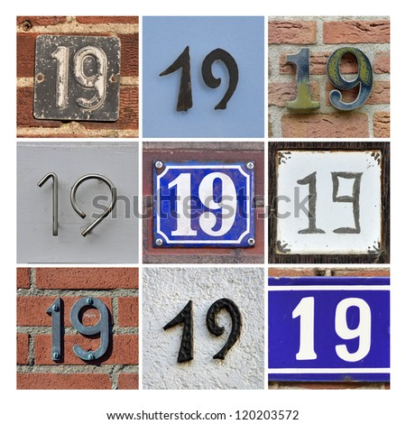 Collage of House Numbers Nineteen - stock photo