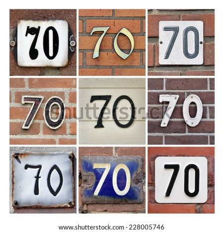 Collage of House Numbers Seventy - stock photo