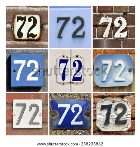 Collage of House Numbers Seventy-two - stock photo
