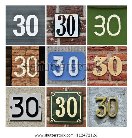 Collage of House Numbers Thirty - stock photo