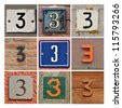 Collage of House Numbers Three - stock photo
