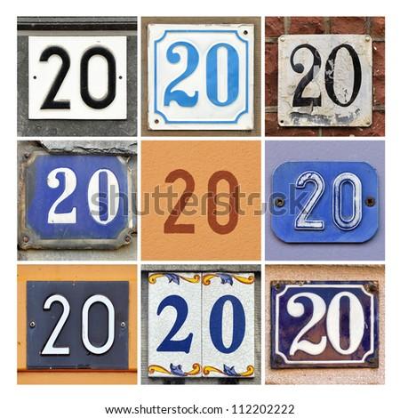 Collage of House Numbers Twenty - stock photo