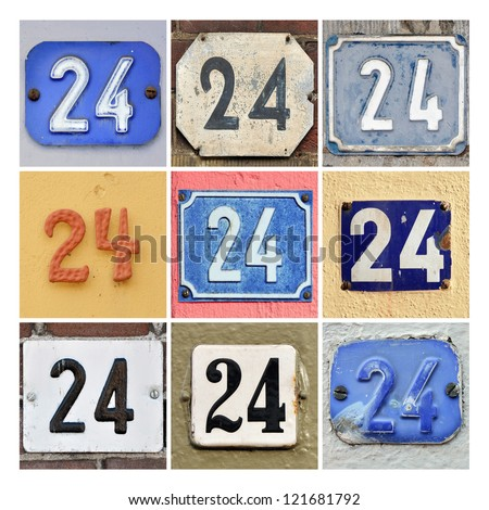Collage of House Numbers Twenty-four - stock photo