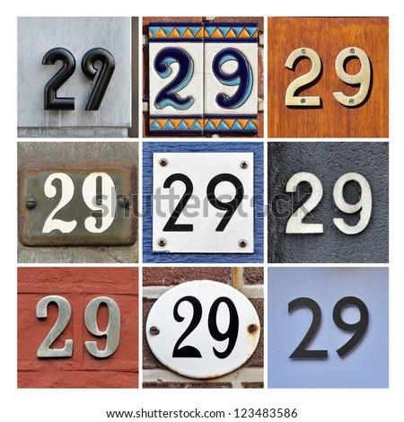 Collage of House Numbers Twenty-nine - stock photo