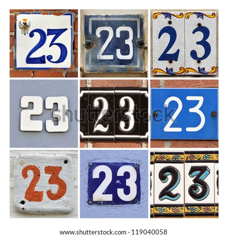 Collage of House Numbers twenty-three