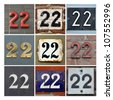 Collage of house Numbers Twenty-two - stock photo