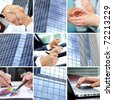 Collage of human hands and office building sides - stock photo