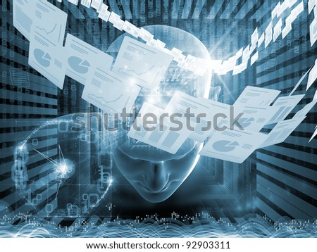 Collage of human head, documents and various abstract elements on the subject of document processing, office work and modern technologies - stock photo