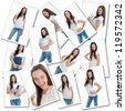 Collage of image of a young woman in different moments of her day - stock photo