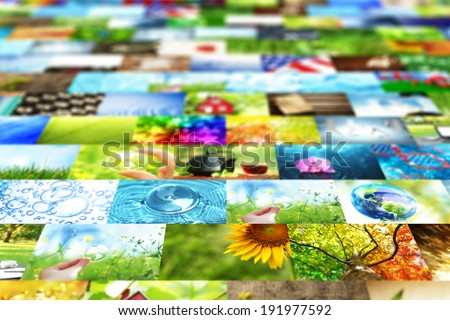 Collage of images background - stock photo