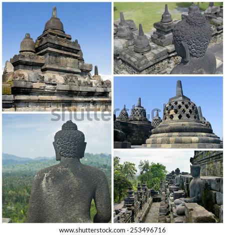 Collage of images Buddist temple Borobudur. Yogyakarta. Java, Indonesia - stock photo