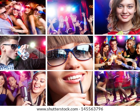 collage of images  disco dance happy young people enjoys  party