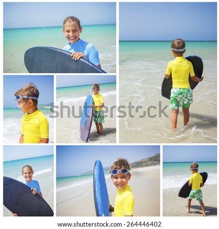 Collage of images kids in blue has fun surfing - stock photo
