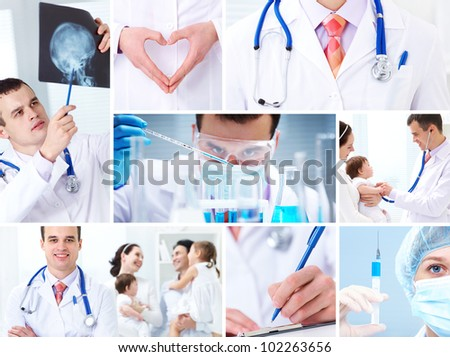 collage of images on medicine and health care - stock photo