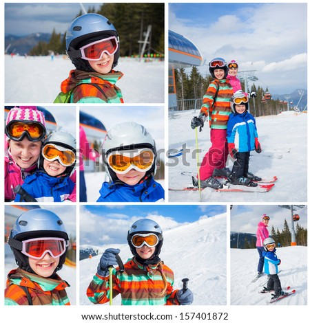 Collage of images two happy smiling kids in ski goggles and a helmet with his mother in the mountains - stock photo