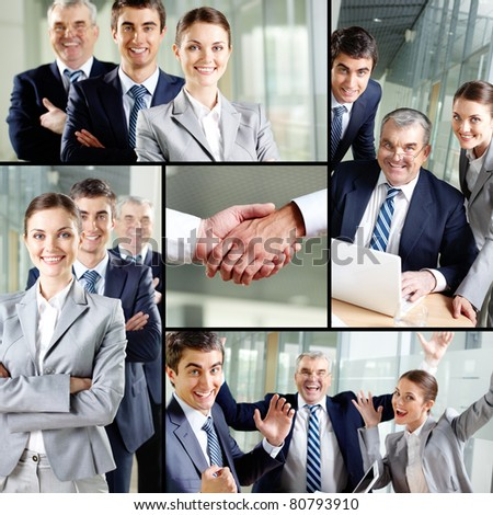 Collage of images with confident business team - stock photo