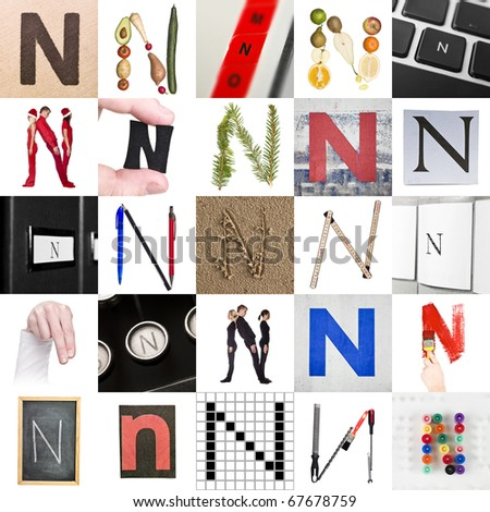 Collage of images with letter N - stock photo