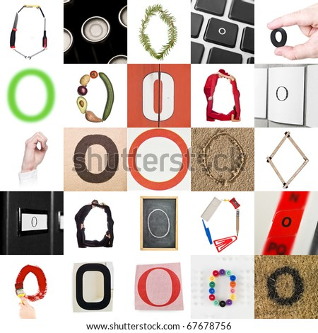 Collage of images with letter O - stock photo