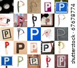 Collage of images with letter P - stock photo