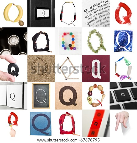 Collage of images with letter Q - stock photo