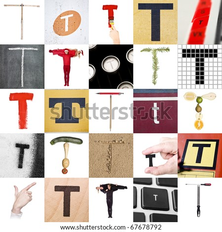 Collage of images with letter T - stock photo