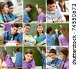 Collage of images with teenagers in school - stock photo