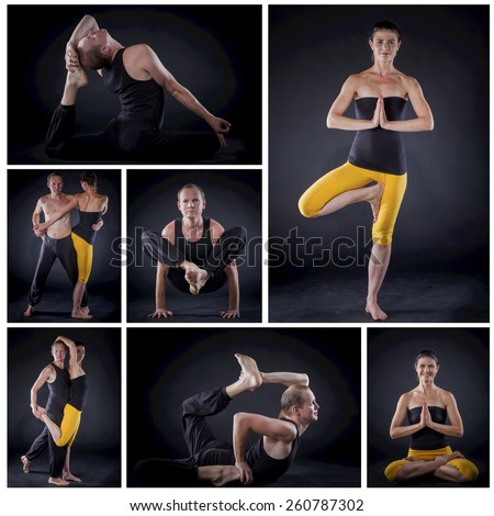 Collage of images young couple doing yoga. On black backgraund - stock photo