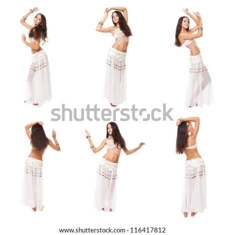 collage of images young pretty woman belly dancer. studio shot, posing over white background - stock photo