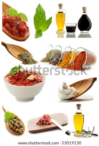 collage of ingredients and condiments - stock photo