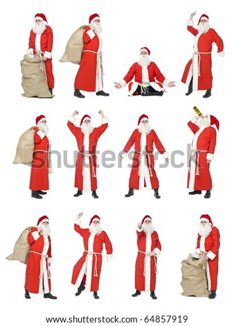 Collage of isolated Santa Claus in different situations - stock photo