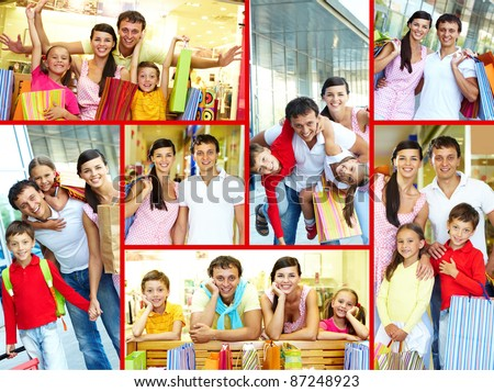 Collage of joyful family and couple after shopping - stock photo