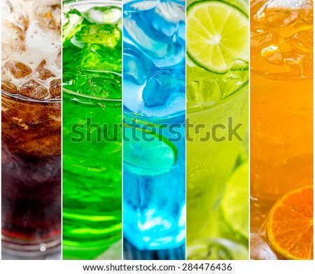 collage of juice and cocktails - stock photo