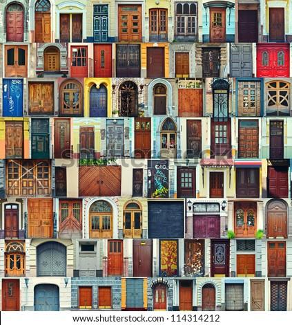 Collage of Kiev front doors,Ukraine - stock photo