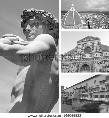 Collage of landmarks, Florence, Italy - stock photo