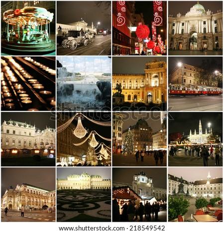 Collage of landmarks in Christmas Vienna Austria - stock photo