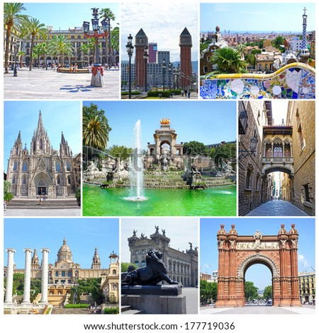 Collage of landmarks of Barcelona, Spain: Triumph Arch, National Museum, Placa Espanya, Park Guell, Plaza Real, Parc Ciutadella, Barri Gotic - Bridge Carrer del Bisbe, Cathedral Holy Cross St. Eulalia - stock photo
