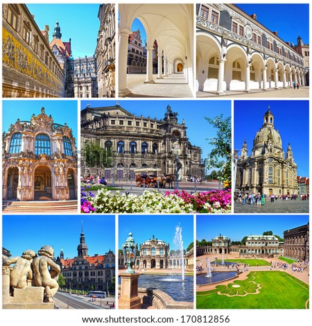 Collage of landmarks of Dresden, Germany. Zwinger Palace, Semper Opera house, Fuerstenzug, Castle Stallhof, Frauenkirche (Church of Our Lady) in Dresden, Saxony, Germany - stock photo
