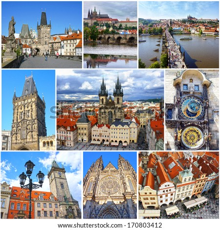 Collage of landmarks of Prague. Charles bridge, Cathedral of Saint Vitus, Orloj Astronomical Clock, Church of our Lady Tyn in old town of Prague, Czech Republic - stock photo
