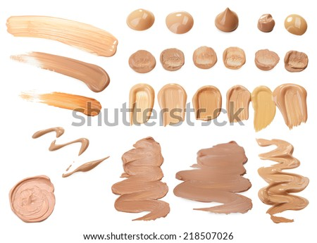 Collage of liquid foundation isolated on white - stock photo
