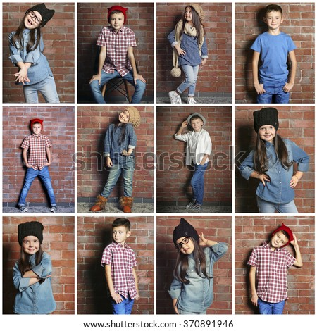 Collage of little fashion kids on bricks wall background