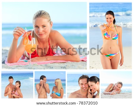 Collage of lovely couples and attractive women on a beach - stock photo