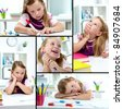 Collage of lovely girl drawing with colorful pencils - stock photo
