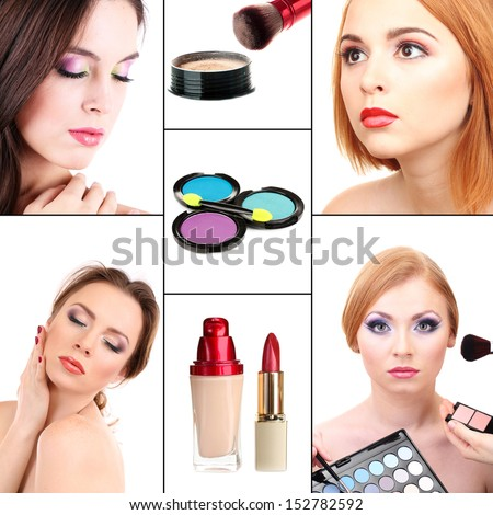 Collage of make-up - stock photo